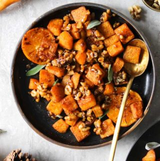 Roasted Butternut Squash with Candied Walnuts and Sage