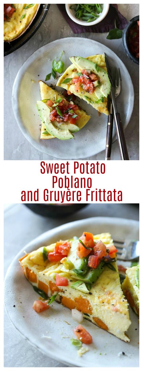 Sweet Potato, Poblano, and Gruyère Frittata