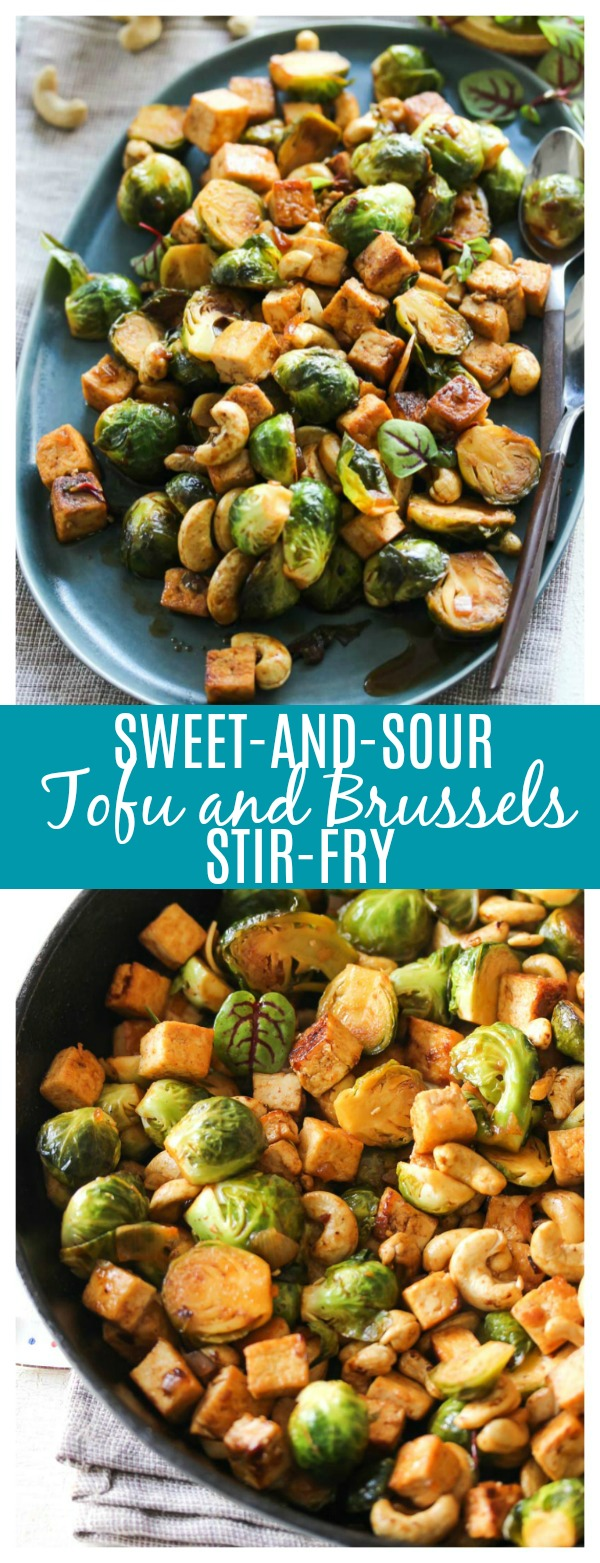 Sweet-and-Sour Tofu and Brussels Stir-Fry (vegan)