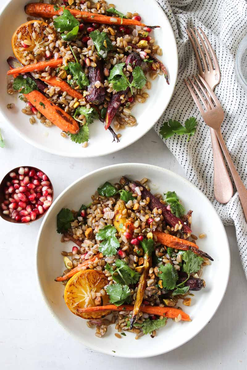 Coriander-Carrot Grain Bowls with Cilantro-Honey Dressing