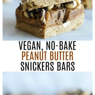 Vegan No-Bake Peanut Butter Snickers Bars