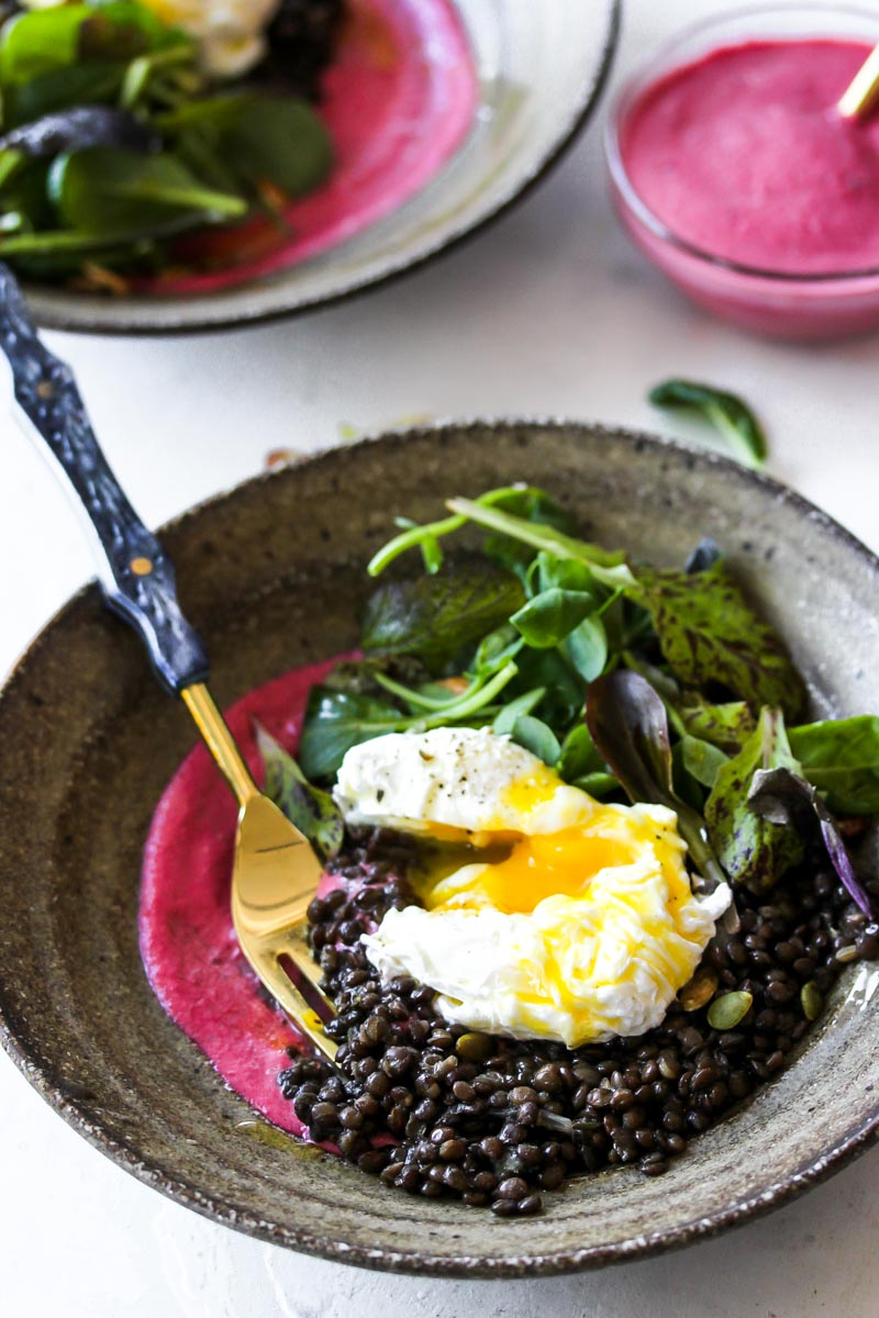 Black Lentil Bowls with Beet-Tahini Dressing