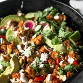 Skillet Chipotle-Cauliflower Chilaquiles