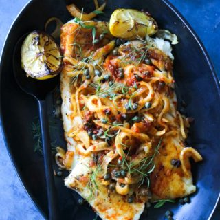 Pan-Seared White Fish with Harissa-Fennel and Capers