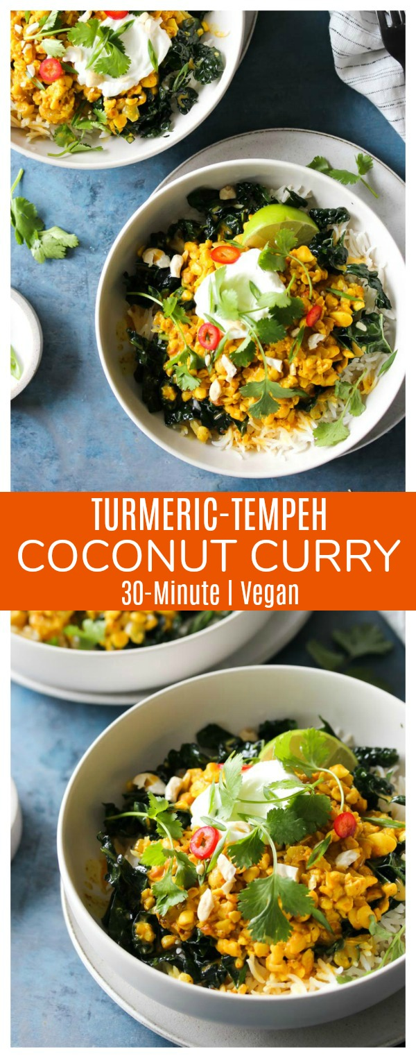 Turmeric-Tempeh Coconut Curry | dishingouthealth.com
