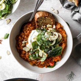 Harissa-Stewed Lentils with Pickled Fennel Salad