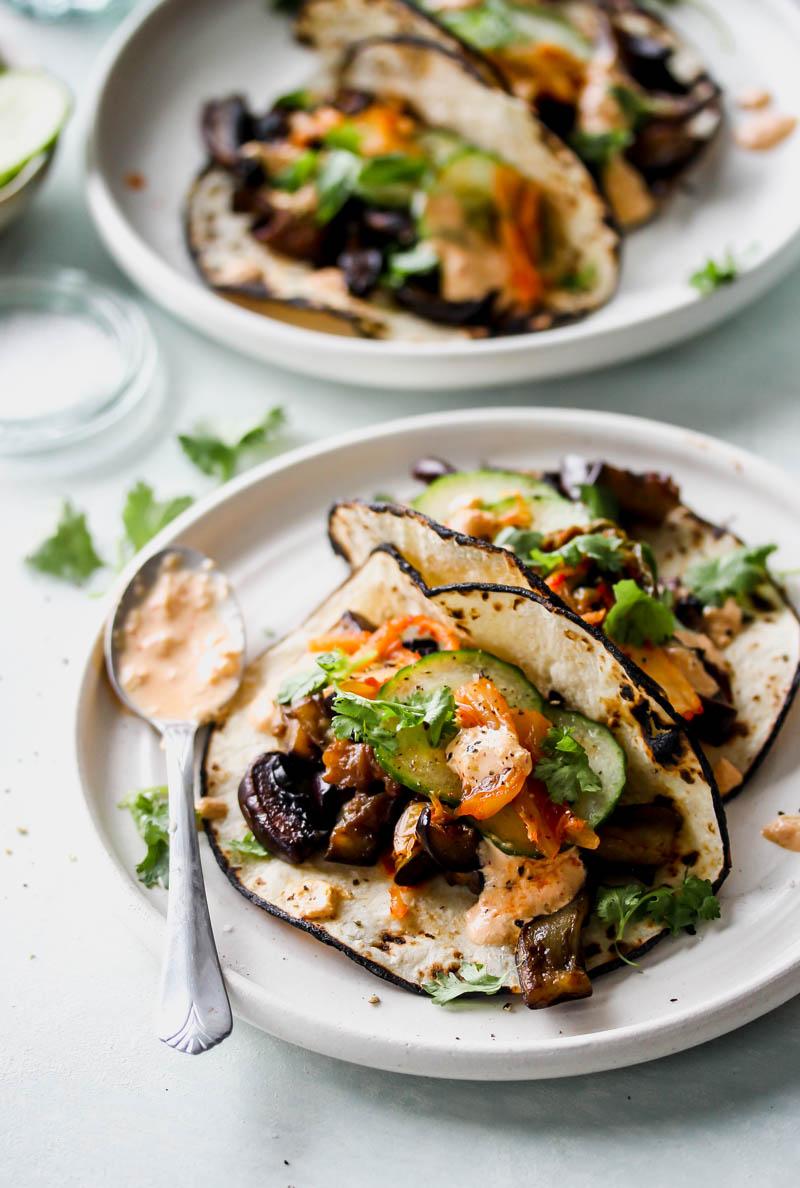 Korean Eggplant and Mushroom Tacos with Kimchi Cream