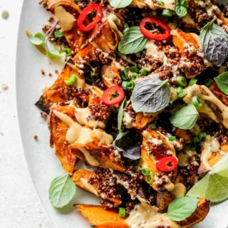Roasted Sweet Potato Wedges with Asian Peanut Sauce
