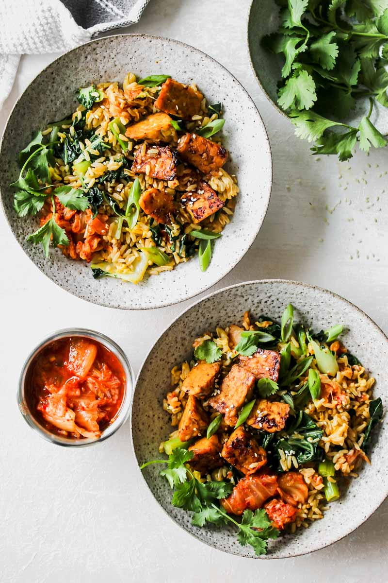Kimchi Fried Rice with Sesame-Braised Tempeh