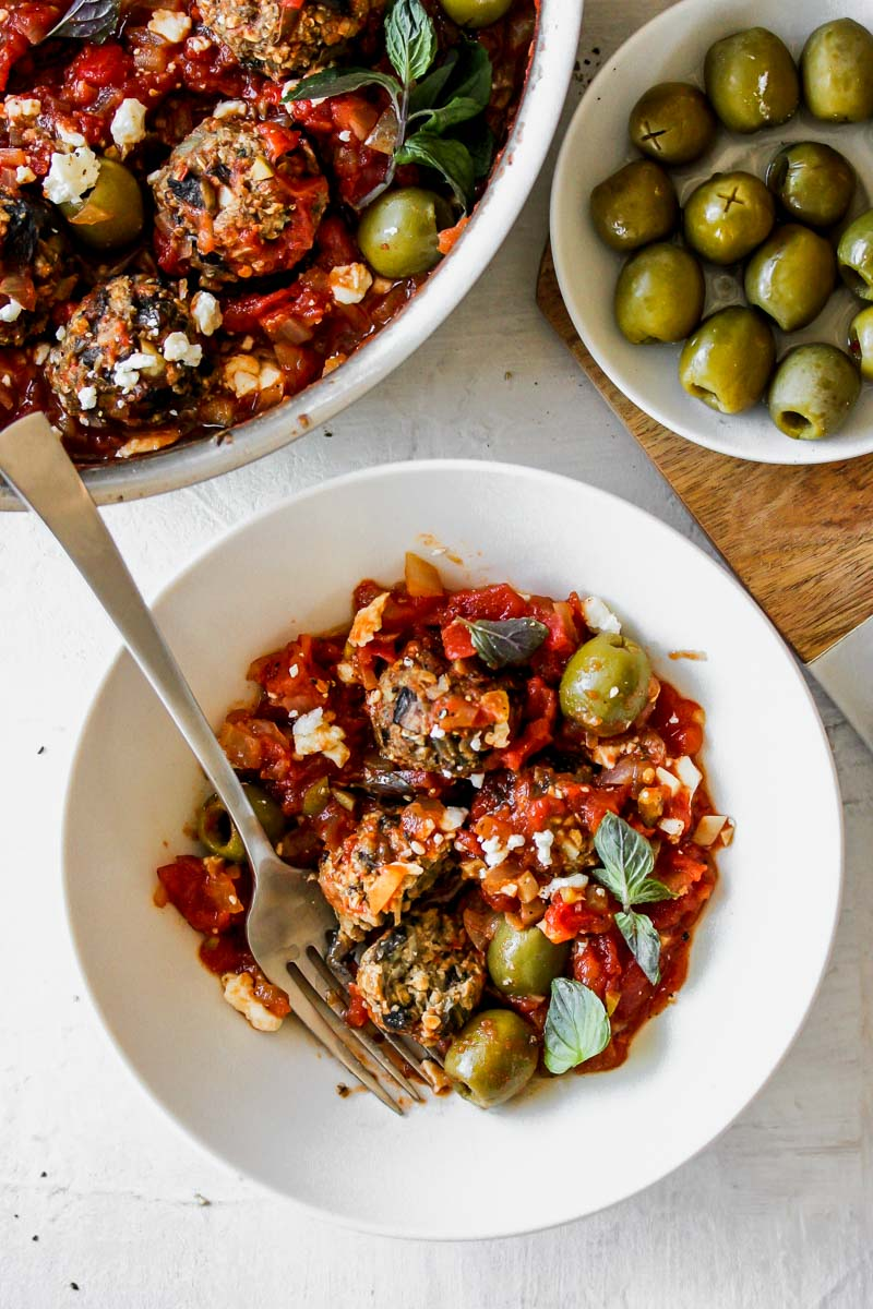 Vegetarian Mushroom Meatballs in Spanish Olive-Tomato Sauce