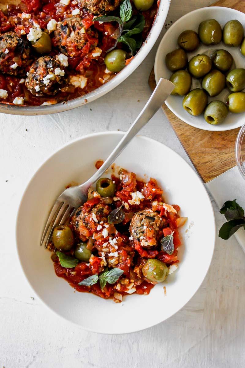Vegetarian Mushroom Meatballs in Spanish Olive-Tomato Sauce