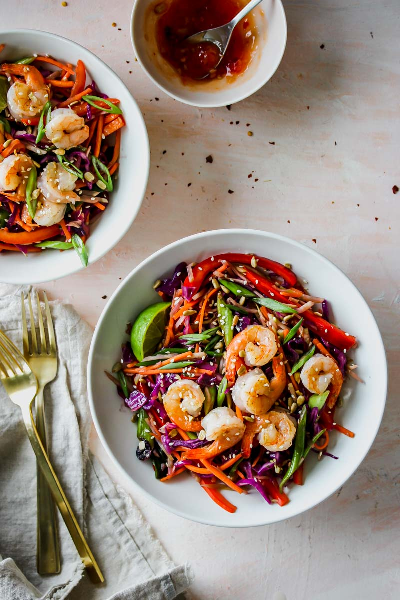 Sweet and Sour Shrimp Egg Roll Bowls