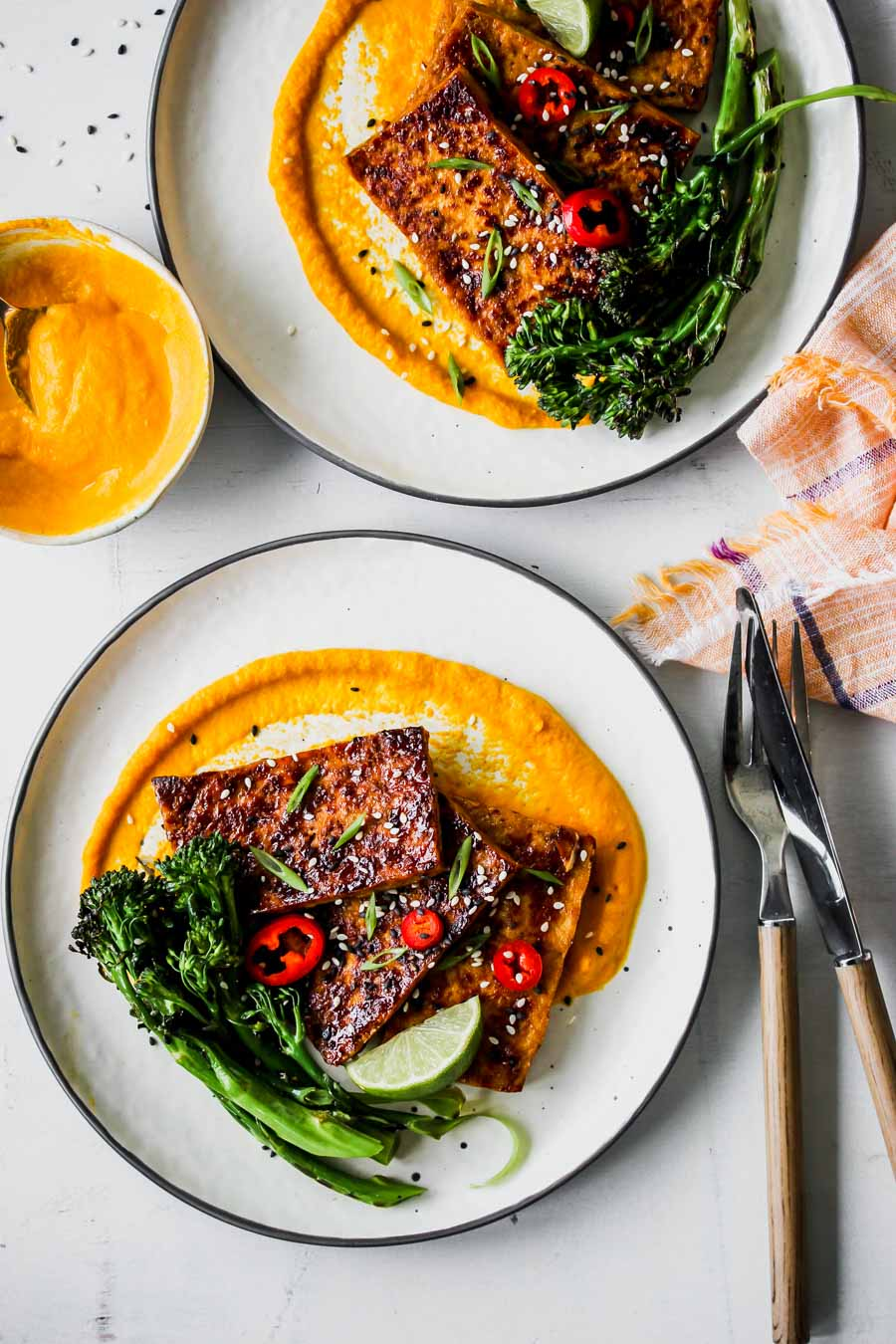 Honey-Soy Glazed Tofu with Carrot-Ginger Sauce | Dishing ...