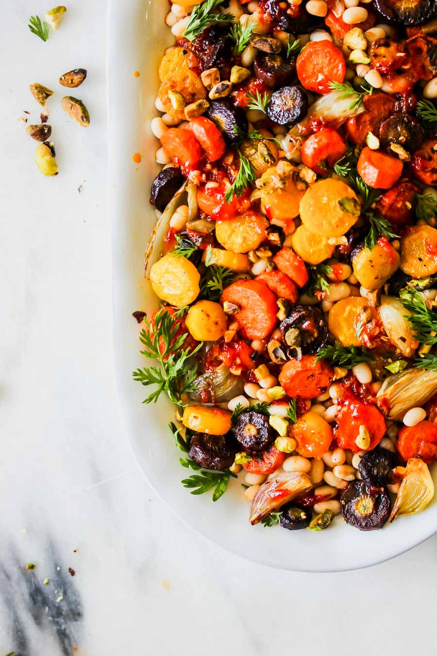 Roasted Carrot and White Bean Salad with Apricot-Harissa