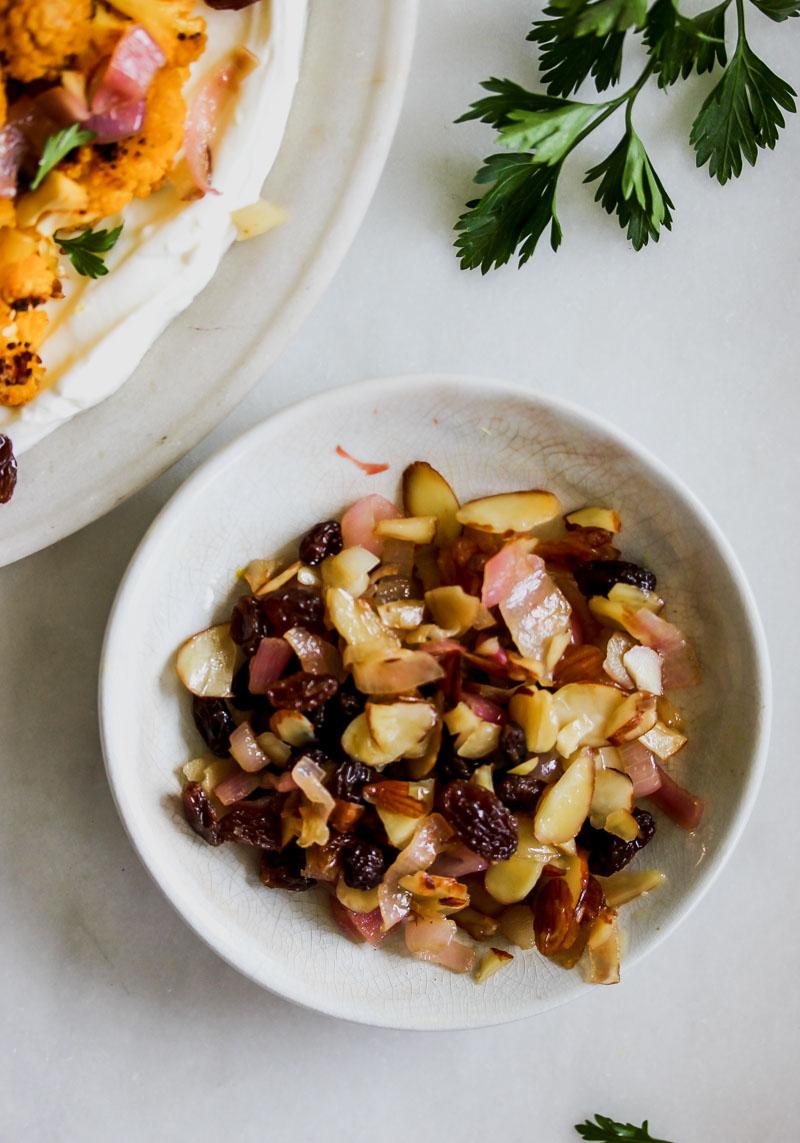 Roasted Cauliflower with Pickled Raisin-Shallot Relish and Lemony Yogurt