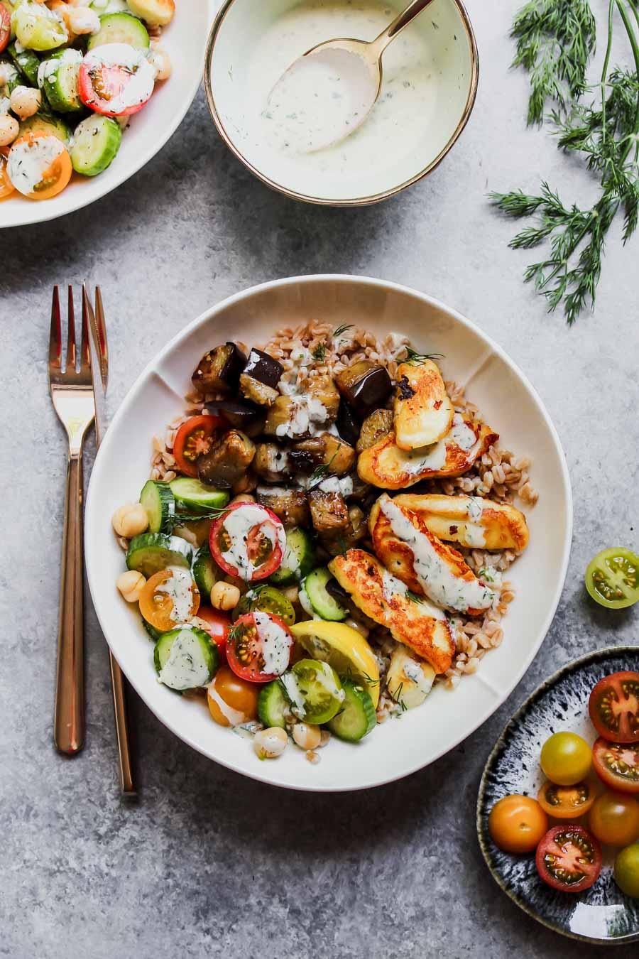 Mediterranean Eggplant and Halloumi Bowls with Lemon-Dill Sauce