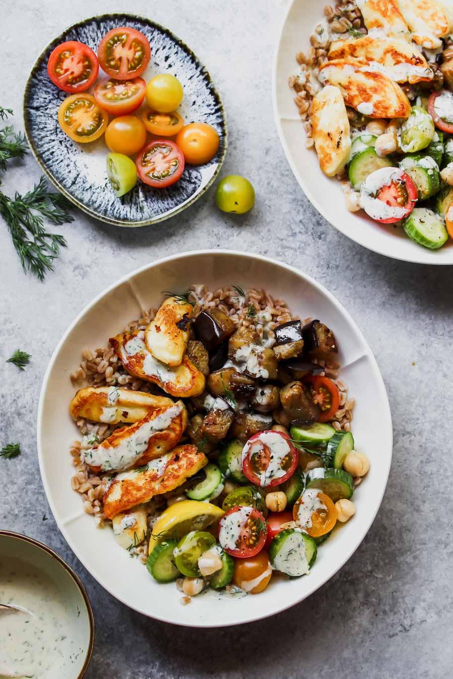 Mediterranean Eggplant and Halloumi Bowls with Lemon-Dill Sauce
