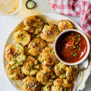 Salt-and-Vinegar Smashed Potatoes with Miso Ketchup
