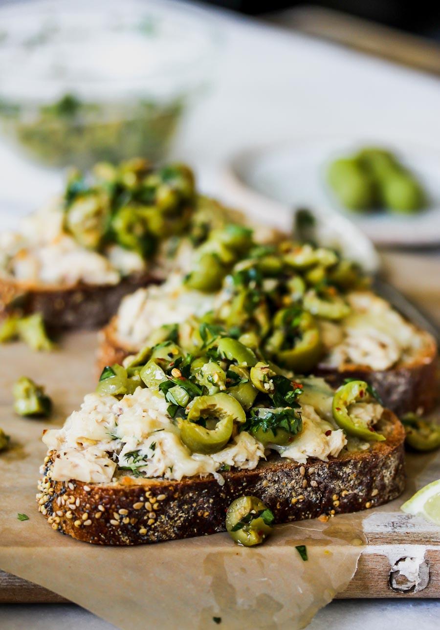 Cheesy Tuna Toasts with Olive Salsa