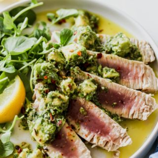 Seared Tuna with Avocado Salsa Verde