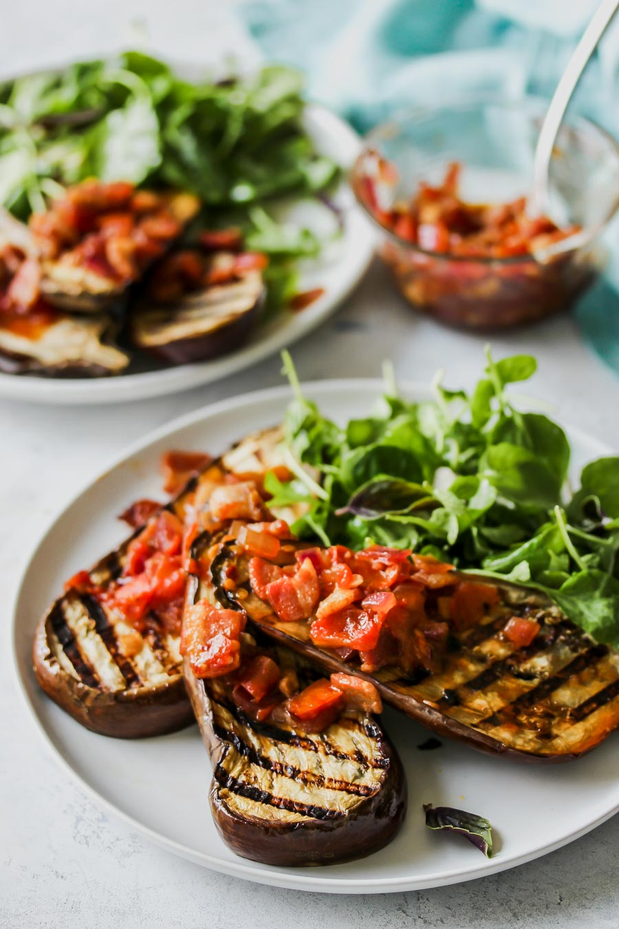 Grilled Eggplant with Sweet and Sour Bacon Chutney