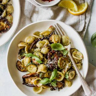 30 Minute Zucchini Pesto Pasta with Buttery Mushrooms