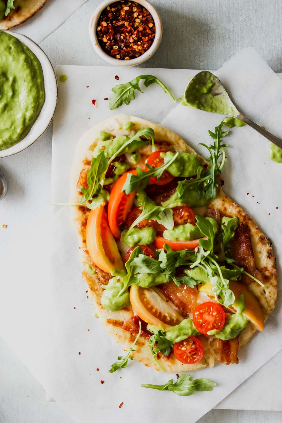 BLT Naan Flatbreads with Creamy Tomatillo Sauce