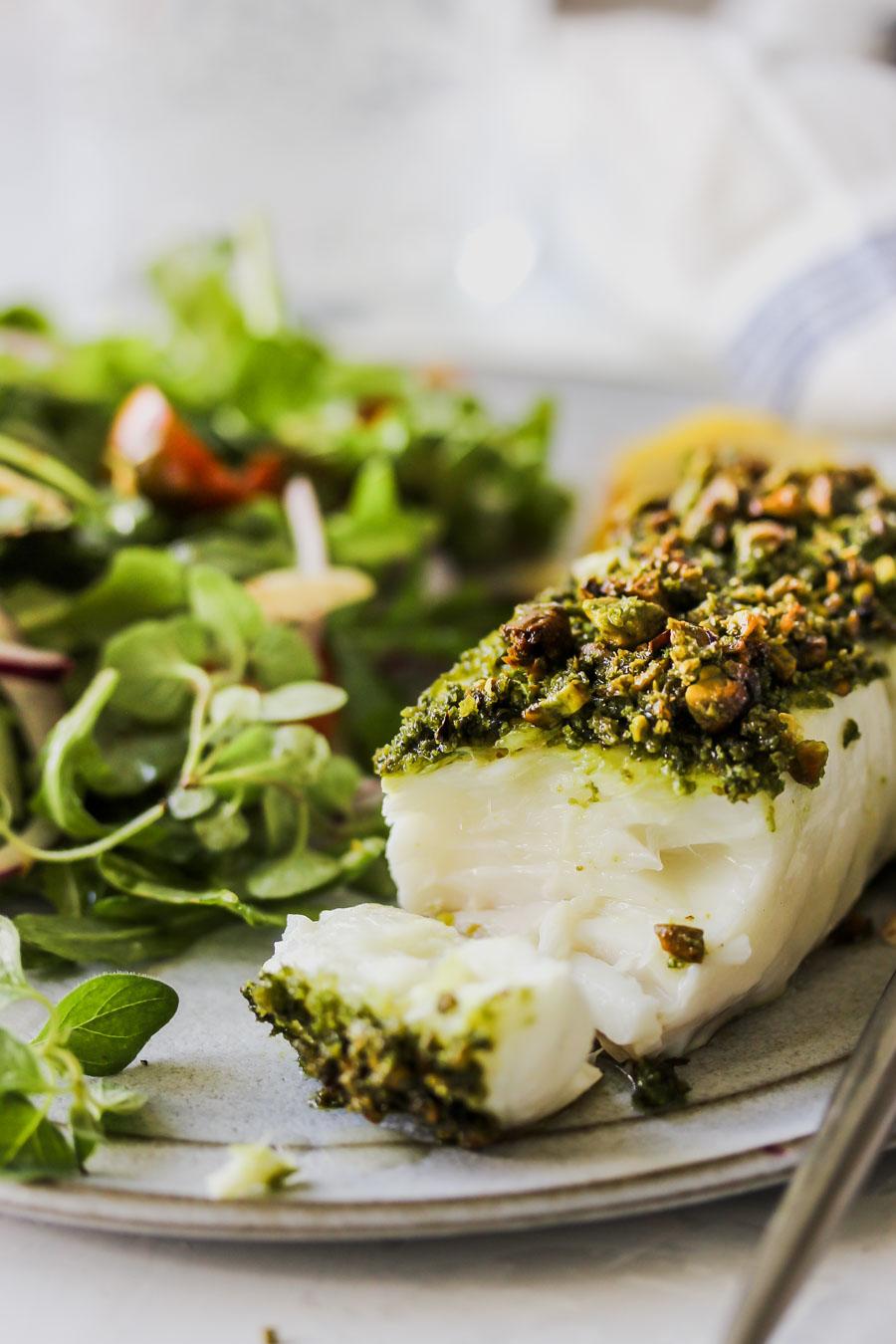 Matcha-Pistachio Crusted White Fish