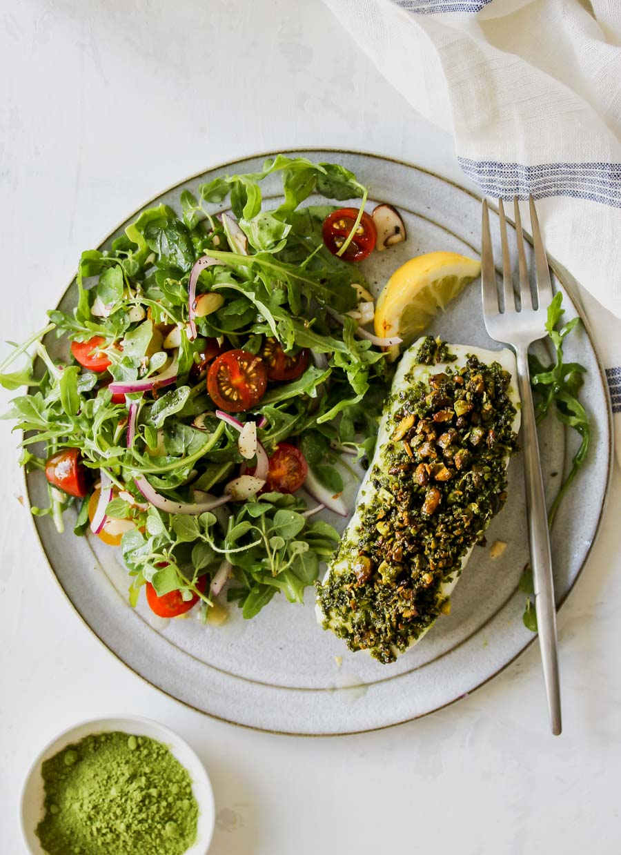 Matcha-Pistachio Crusted White Fish