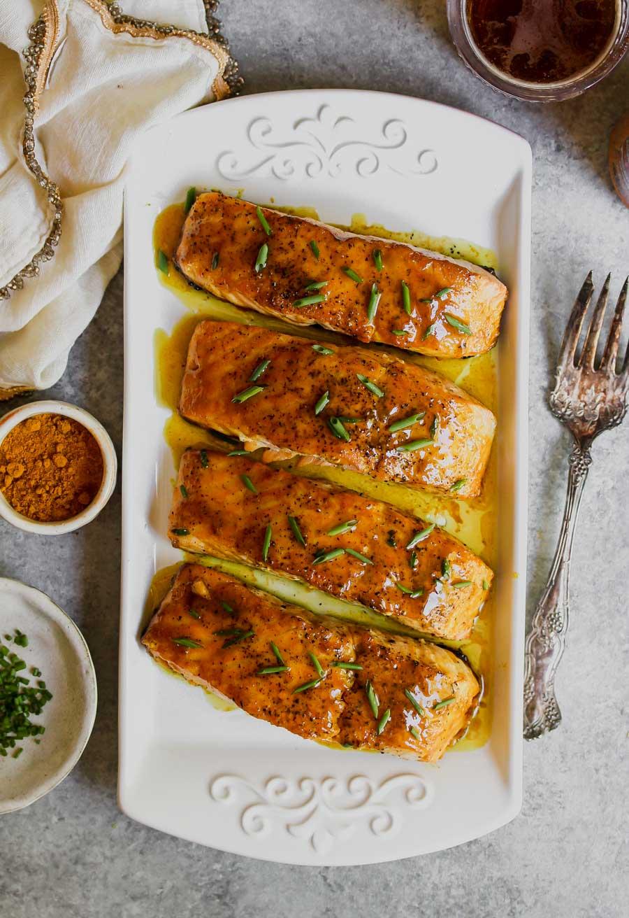 5 Ingredient Curried Maple-Mustard Salmon