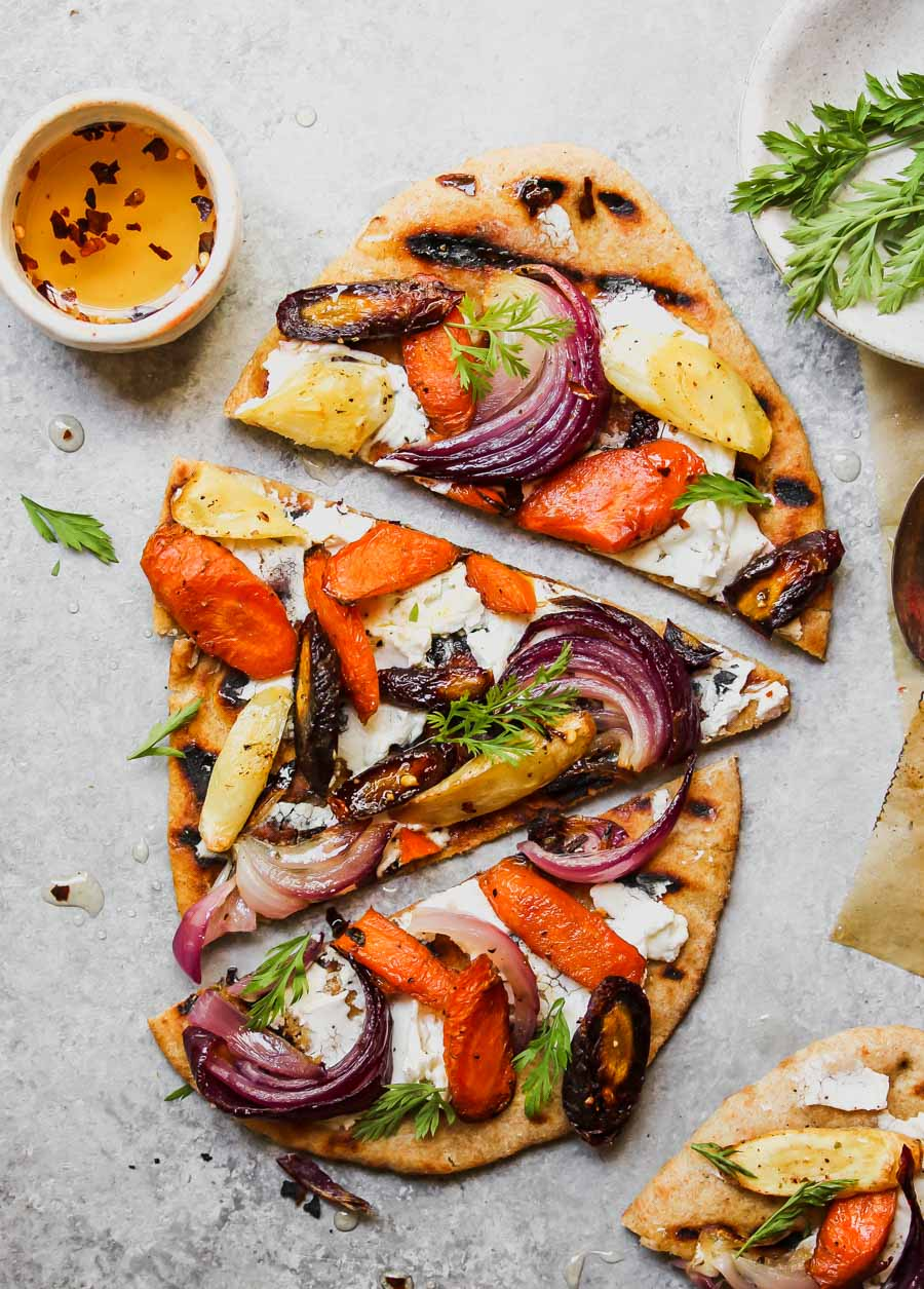 Roasted Root Vegetable and Goat Cheese Pizza with Chili Honey