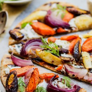 Root Vegetable and Goat Cheese Mini Pizzas with Chili Honey