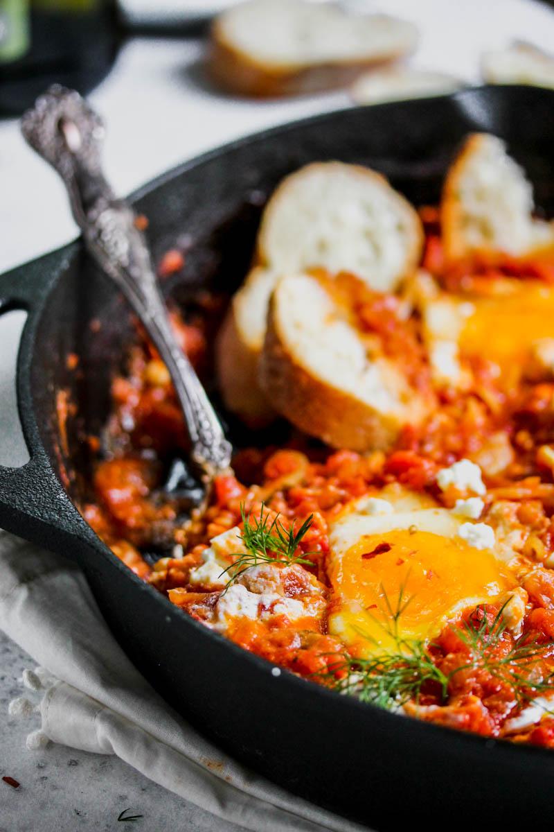 Moroccan Marinara-Poached Eggs