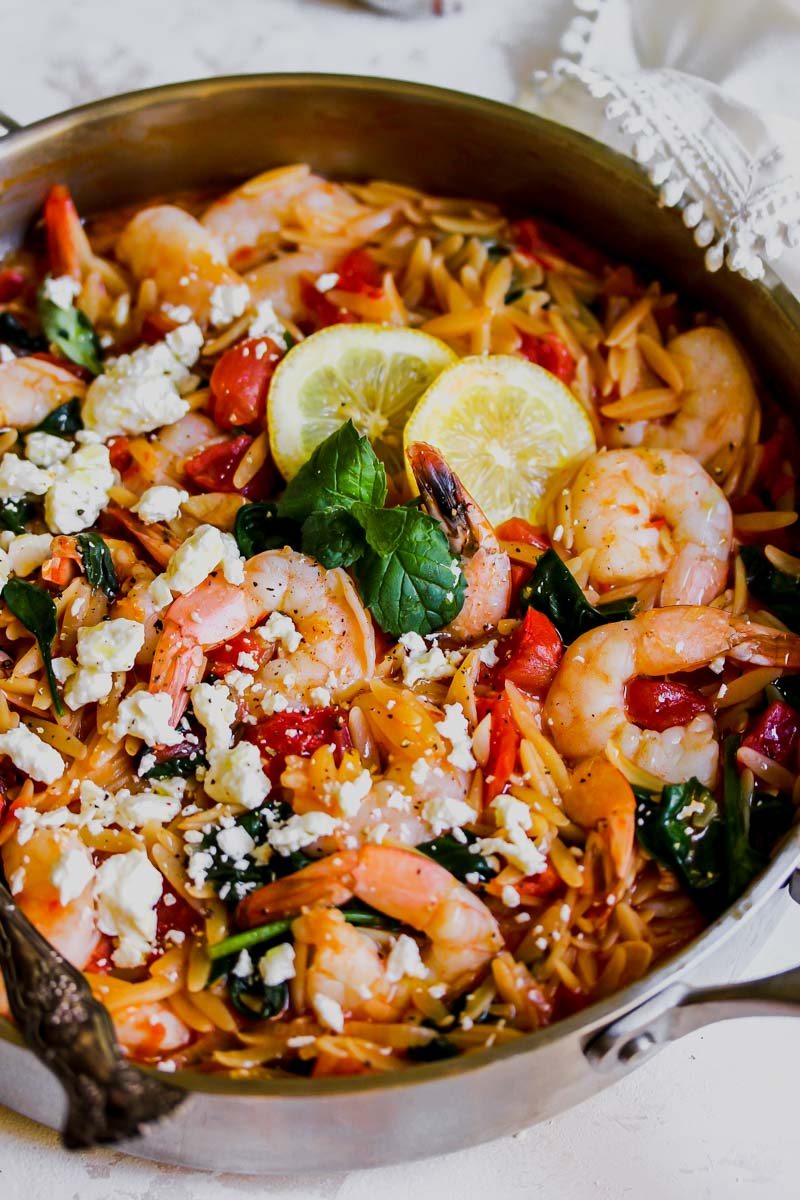 One Pot Harissa Shrimp and Feta Orzo