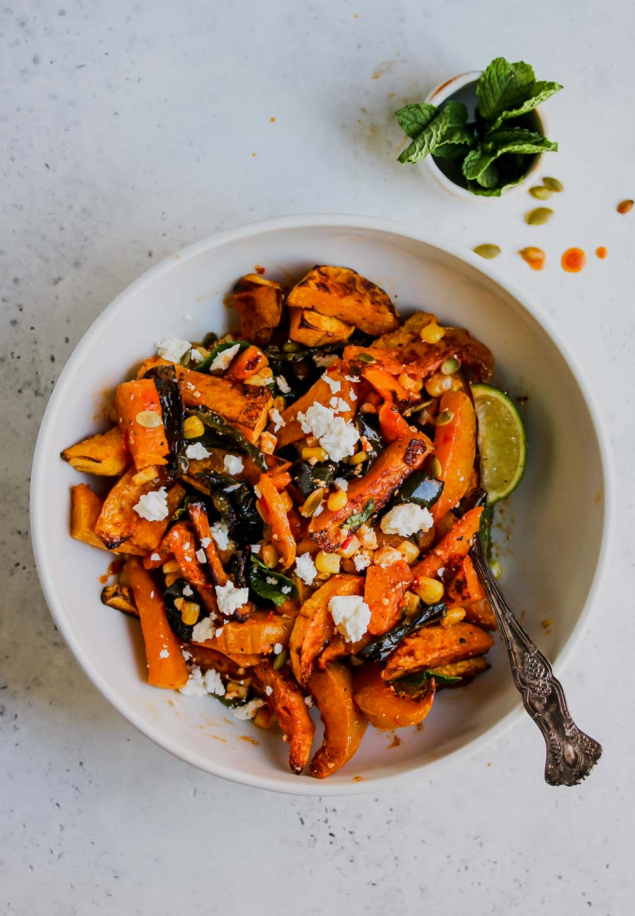 Moroccan Butternut Squash and Poblano Salad with Feta