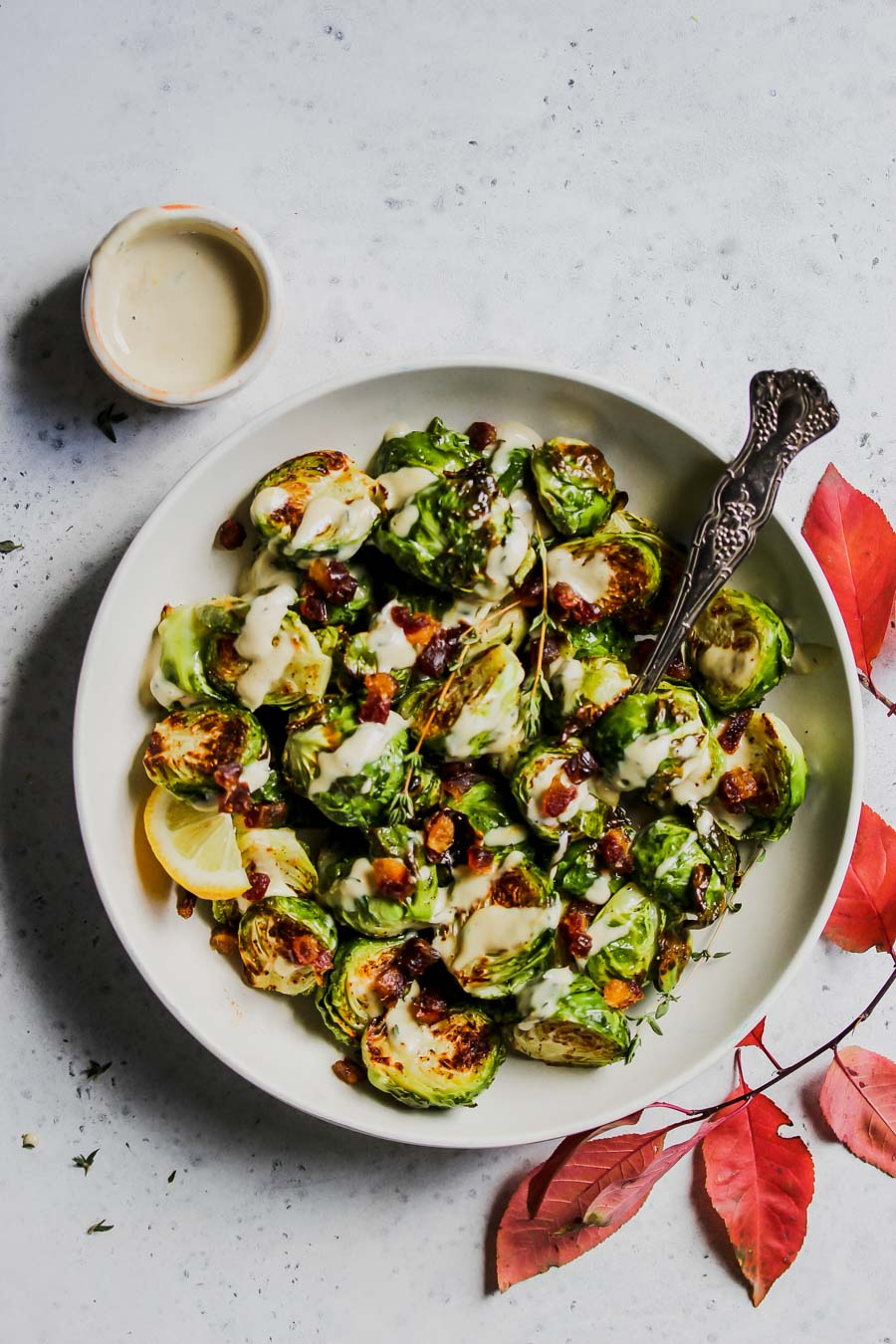 5 Ingredient Tahini-Thyme Brussels Sprouts