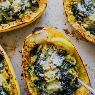 Browned Butter Kale and Fontina Spaghetti Squash
