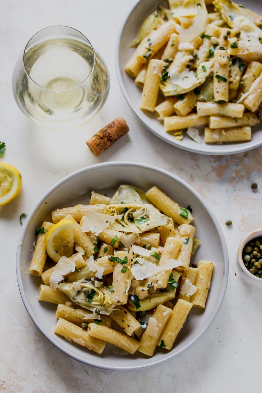 One Pot Lemon-Artichoke Piccata Pasta