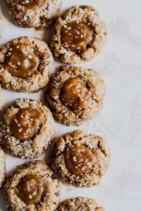 Vegan Salted Caramel Coconut Thumbprint Cookies