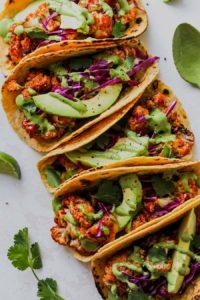 BBQ Cauliflower Tacos with Green Tahini Sauce