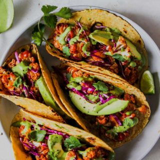BBQ Cauliflower Tacos with Green Tahini Sauce
