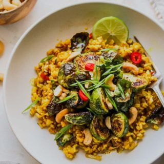 Curried Brown Butter Rice Bowls with Crispy Sprouts