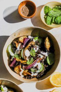 Roasted Eggplant and Lentil Bowls with Cardamom Yogurt
