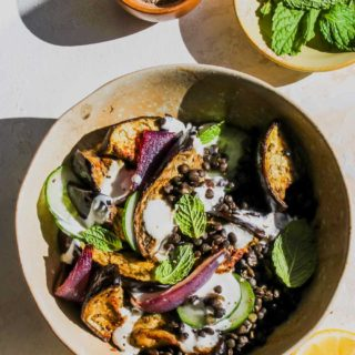 Roasted Eggplant and Lentil Bowls with Cardamom Yogurt