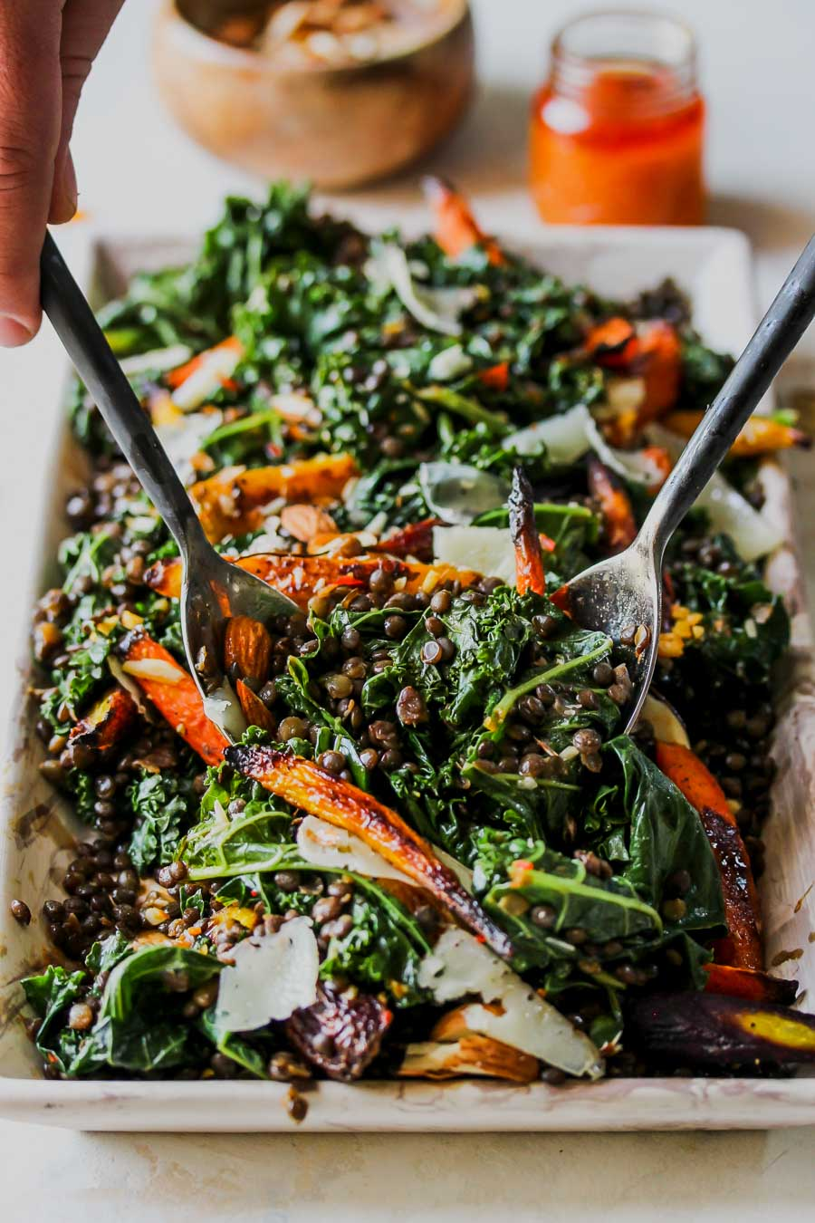 Warm Lentil and Kale Salad with Carrot-Harissa Dressing