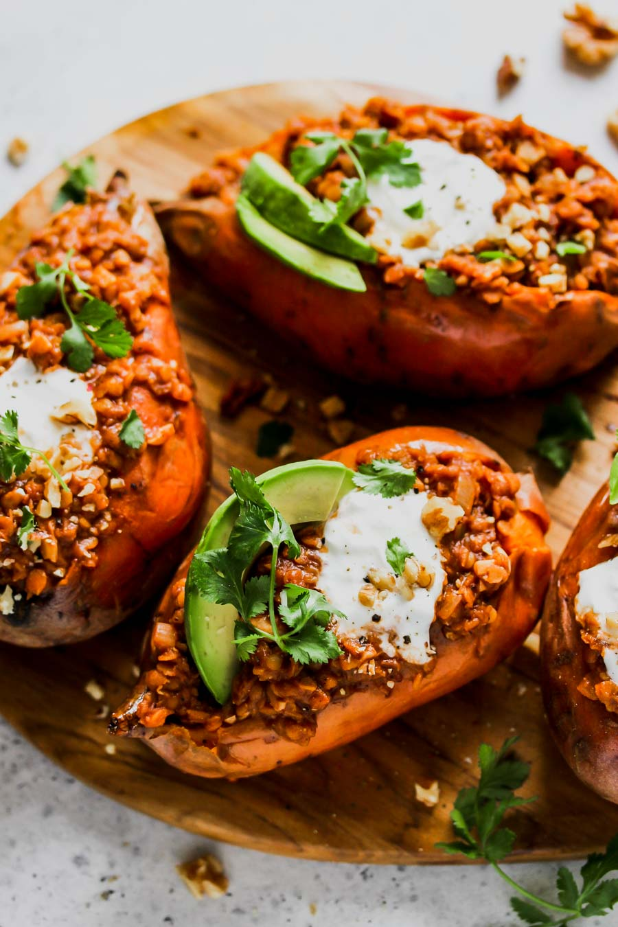 Smoky Lentil Stuffed Sweet Potatoes (Vegan)