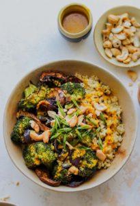 Roasted Veggie Quinoa Bowls with Miso-Turmeric Dressing