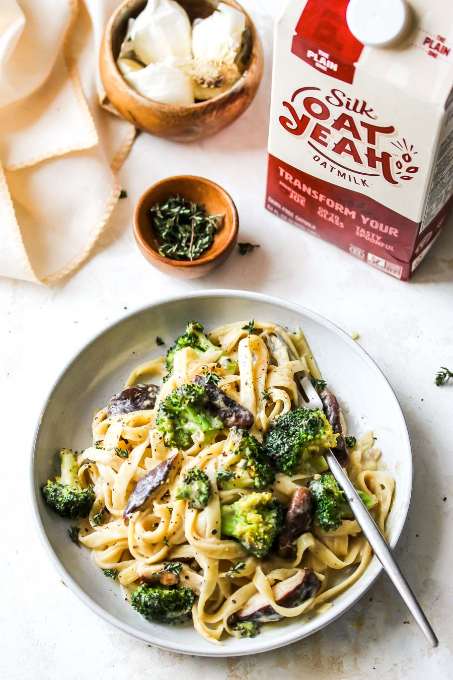 Broccoli and Mushroom Fettuccine with Miso Cream Sauce