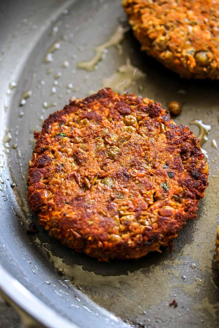 Spiced Lentil Burgers with Tahini Slaw (Vegan)