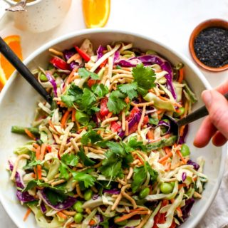 20 Minute Chopped Asian Salad with Orange-Sesame Miso Dressing